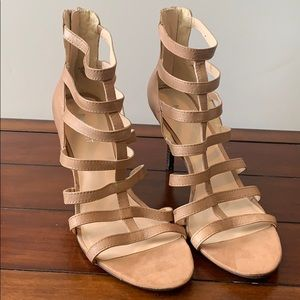 Strapy Nude heels.